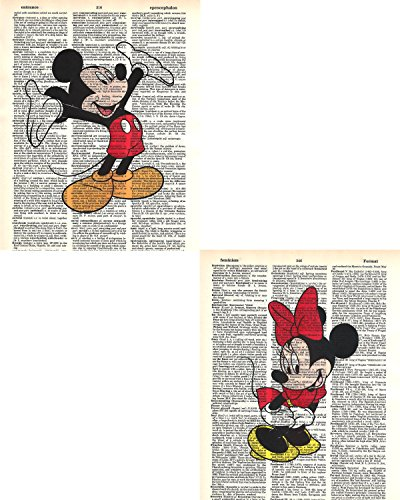 Mickey Mouse Prints - Signature Studios Walt Disney Mickey Mouse and Minnie Mouse photo's Set of (2) Dictionary Art Prints 8x10