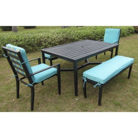 Outdoor Steel Dining Set with 6 Seats, Two Benches and Chairs, Umbrella Hole, Weather Resistant, Reversible Cushions with UV Rated Fabric, Ideal for Garden, Yard, Pool, Patio Furniture, BONUS E-book (Rated Furniture Best Patio Sets)