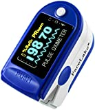 FaceLake OLED Pulse Oximeter, with Carrying Case, Lanyard & Batteries, Blue