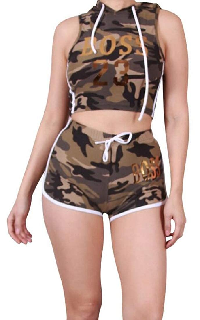 BYWX Women Letter Print Hooded Casual 2 PCS Camouflage Crop Tank Top and Beach Shorts Club Outfits Tracksuits