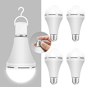 4 Pack Emergency-Rechargeable-Light-Bulb, Stay Lights Up When Power Failure, 1200mAh 15W 80W Equivalent 6000K LED Light Bulbs for Home, Camping, Tent (E27, with hook)