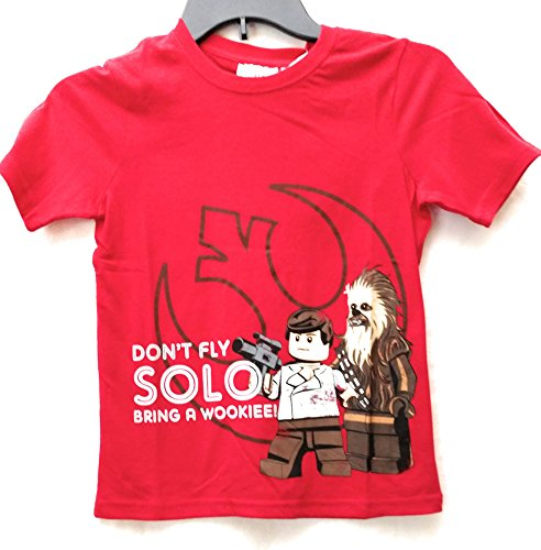 Star Wars Boys' Don't Fly Solo Lego Wookie Red Short Sleeve Graphic Tee (Small (6/7)) (Lego Star Wars Shirt)
