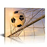 Live Art Decor - Modern Canvas Art Wall Decor Sports Soccer Pictures Canvas Prints Gym Poster for Boys Room Kids Room Decoration Modern Home Decor Stretched and Framed Ready to Hang