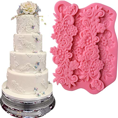 - Anyana flower sugar edible vine royal lace wedding cake silicone Embossing Mat fondant impression mat decorating Medallion mold gum paste cupcake topper icing candy imprint sugarcraft mould set of 3