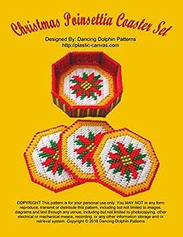 Plastic Canvas Christmas Coaster Patterns.Amazon Com Christmas Poinsettia Coaster Set Plastic Canvas