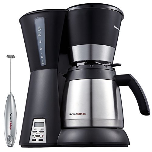 Bonsenkitchen 10-Cup Thermal Programmable Coffee Maker with Permanent Filter, Stainless-Steel Vacuum Jug, Water Level Indicator and Anti-Drip System, A Milk Frother Included (CM8761)