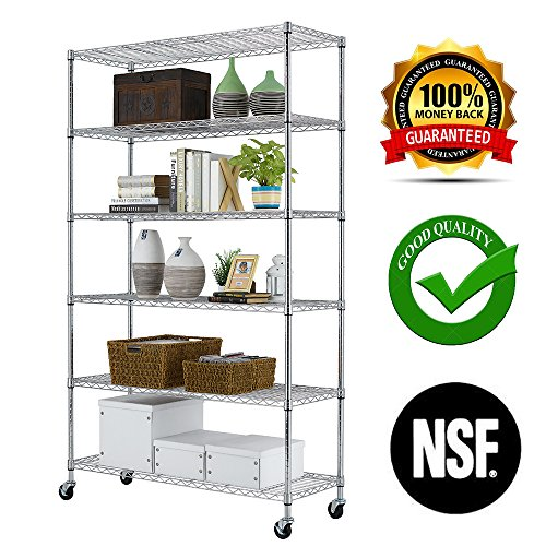 (PayLessHere Chrome 6 Shelf Commercial Adjustable Steel shelving systems On wheels wire shelves, shelving unit or garage shelving, storage racks)