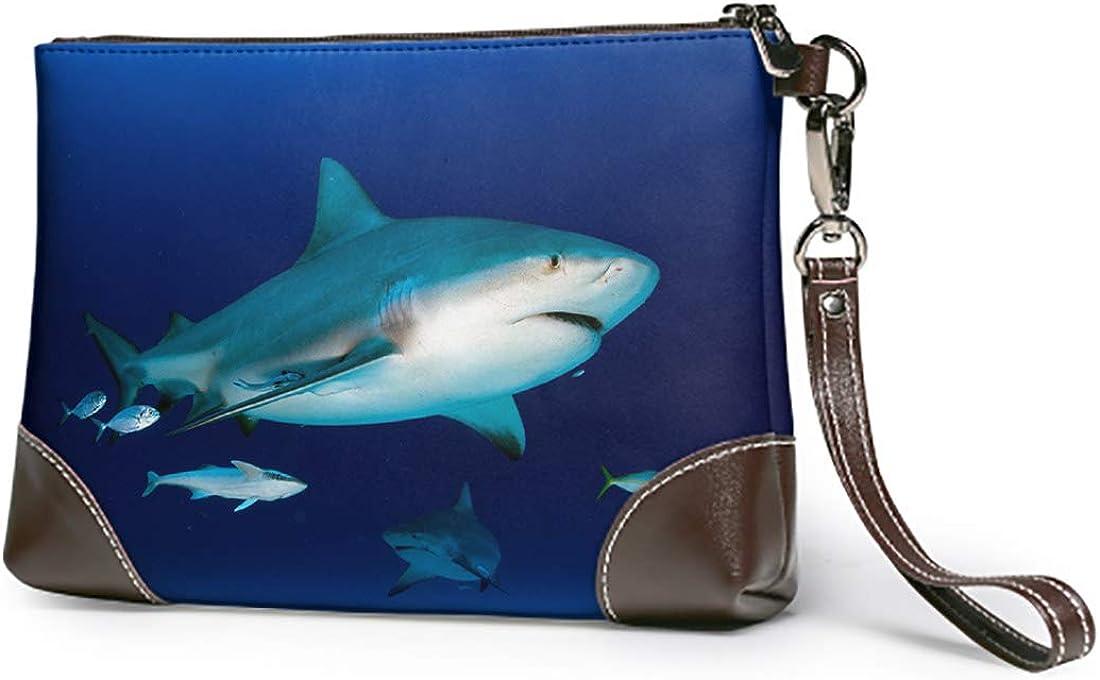 Emvency Wristlet Wallet Zipper Bull Shark Blue Ocean Carcharhinus Lightweight Small Clutch Phone Wristlet Wallet with Strap for Women Man