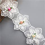 15pcs Flower Lace Ribbon Edge Trim with Pearl Beads Polyester Voile Colored Buds Floral Vintage White Edging Trimmings Fabric Embroidered Applique Sewing Craft Wedding Dress…