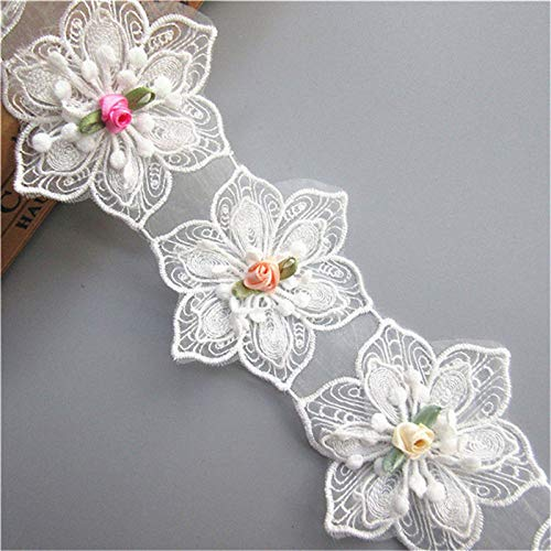 15pcs Flower Lace Ribbon Edge Trim Polyester Voile Colored Buds Floral 6.7