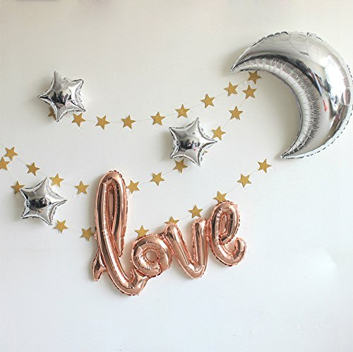 "42 Inch ""Love"" and 36 Inch Moon Large Size Foil Balloons Air-filled / Helium Balloon for Party show performance Wedding Baby Shower window dressing Birthday Anniversary Decoration (CHAMPAGNE GOLD SET)"