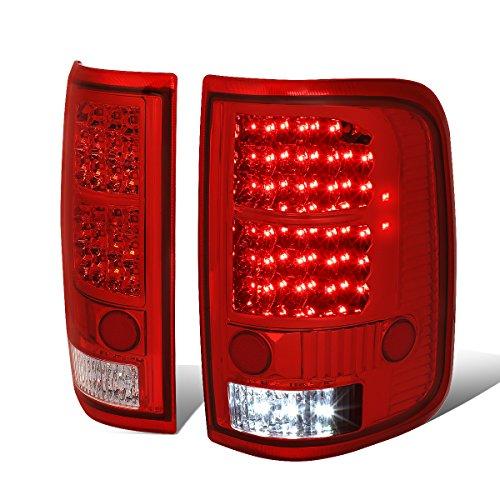 (Pair of Chrome Housing Red Lens Full LED Tail Lights Brake/Reverse Lamps for Ford F-150 Lobo 04 05 06 07)