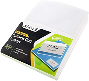 "Juvale 100-Pack Business Cards Clear Adhesive Pockets, Top Load Holds 3.5"" X 2"" Card, Plastic Sleeves Cardholder for Classroom, Projects, Presentations, Office"