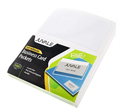 Amazon juvale business card plastic sleeves self adhesive juvale business card plastic sleeves self adhesive poly pockets peel and stick business card holders colourmoves