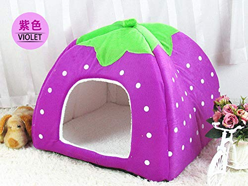 Purple XXL Purple XXL FidgetGear Soft Pet Dog Cat Strawberry Bed Durable House Kennel Doggy Puppy Cushion Basket Purple XXL