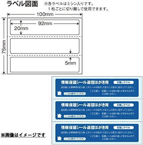 PPS-5(VP2) 往復はがき用目隠しラベル 個人情報保護シール 1600シート入り 92×20mm 必要箇所目隠しサイズ ナナクリエイト ミシン目あり セキュリティタイプ