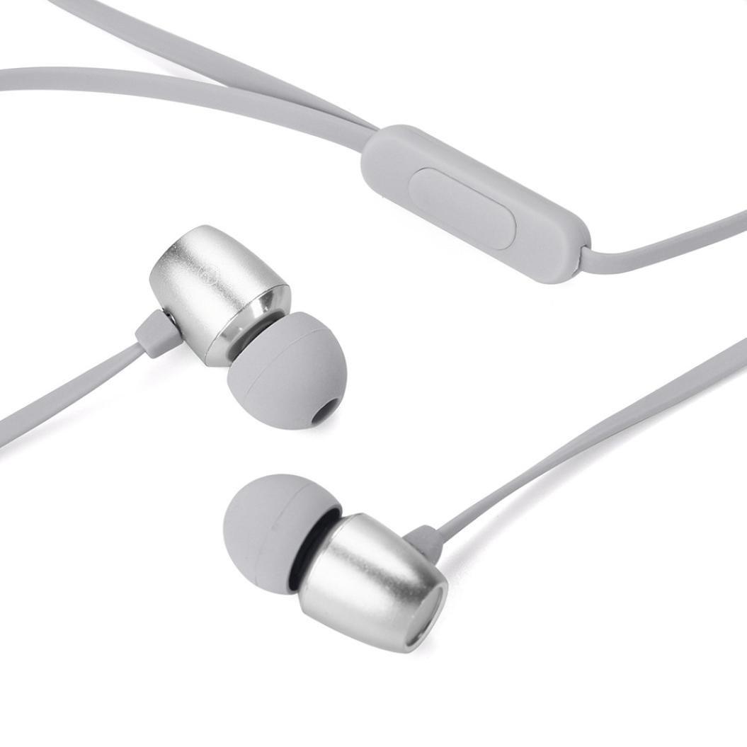 auriculares in ear headphone deportivos Sannysis Auriculares estéreo portátiles originales de la música del deporte para iPhone, Samsung, MP3, Teléfono Android, portátiles con conector de 3.5 mm (Gris) [Clase de eficiencia energética A+++]