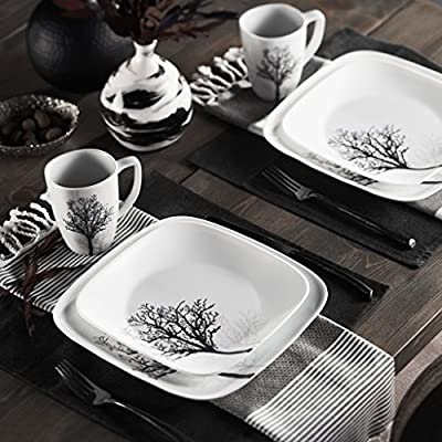 Corelle Square Elegantly Modern Pattern 16-Piece Dinnerware Set, Timber Shadows, Service for 4