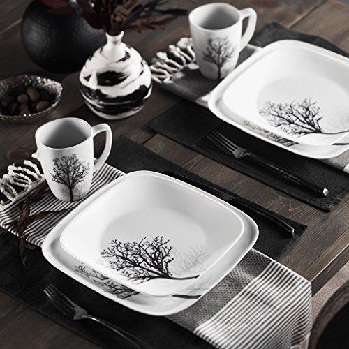 Corelle Square Elegantly Modern Pattern 16-Piece Dinnerware Set, Timber Shadows, Service for 4