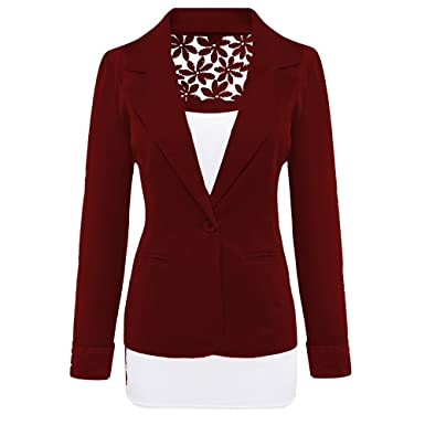 ac43ead5f SBelle Women's Long Sleeve Peaked Collar Work Candy Colored Harvested Smart Blazer  Wine XXL at Amazon Women's Clothing store: