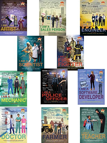 Career Attributes Series of 12 Educational Laminated Posters Featuring Teacher, Doctor, Scientist, Engineer, Artist, Chef, Fire Fighter, Police Officer, Mechanic, Sales Person, Developer and Farmer.