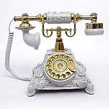 HYY@ Vintage telephone rotary dial telephone antique European-style copper telephone landline telephone white color , golden