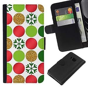 WINCASE Cuadro Funda Voltear Cuero Ranura Tarjetas TPU Carcasas Protectora Cover Case Para HTC One M9 - puntos dots copos de nieve arte rojo verde