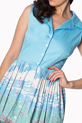 Plus Orientalische Size Jahre Retro 50er Shirtdress Blau Vintage Banned Blüte EwdRxqEf