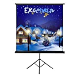 Projector Screen with Foldable Stand Tripod, Excelvan Portable 70'' x 70'' HD 1:1 Pull Up Movie Screen for Home Theater Cinema Wedding Party Office Presentation