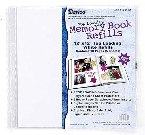 Darice 5 Piece Clear Memory Book Refill Pages, 12 by 12