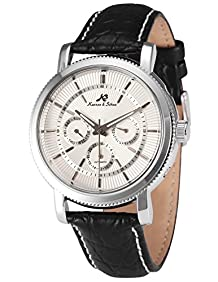 KS Men's Automatic Mechanical Date Day Black Leather Band Wrist Watch KS245