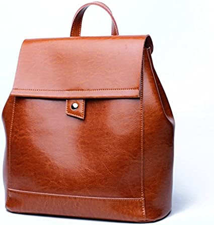 Grossartigus 2018 New Ladies Backpack Leather Soft Face Retro Fashion Design College Ladies Backpack Color : Brown, Size : M