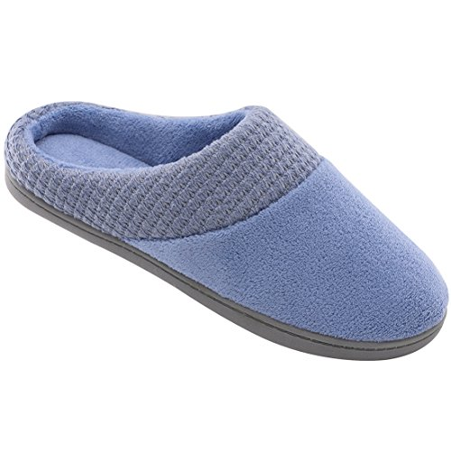 Women's Comfort Terry Plush Memory Foam Slippers Slip-Resistant Indoor & Outdoor House Shoes w/Classic Fabric Knit Collar (Large/9-10 B(M) US, Blue) by ULTRAIDEAS (Image #1)