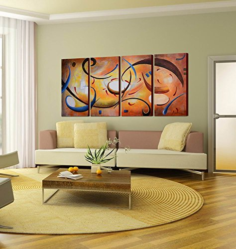 ARTLAND Modern 100% Hand Painted Abstract Oil Painting on Canvas Cheerful Melodies 4-Piece Gallery-Wrapped Framed Wall Art Ready to Hang for Living Room for Wall Decor Home Decoration 24x48inches