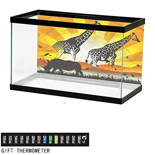 (bybyhome Fish Tank Backdrop African,Sunshine Giraffes Rhino,Aquarium Background,36