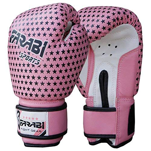 Farabi Kids boxing gloves, junior mitts, junior mma kickboxing Sparring gloves 4Oz pink stars [並行輸入品] B01028NBJG