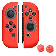 Insten Nintendo Switch Joy-Con [L/R] Skin Cover with 2-Pcs Thumb Grip Stick Caps (Style 1) [Anti-Slip/Ultra Thin] For Nintendo Switch Joy Con Left/Right Controller, Red Color Set 1