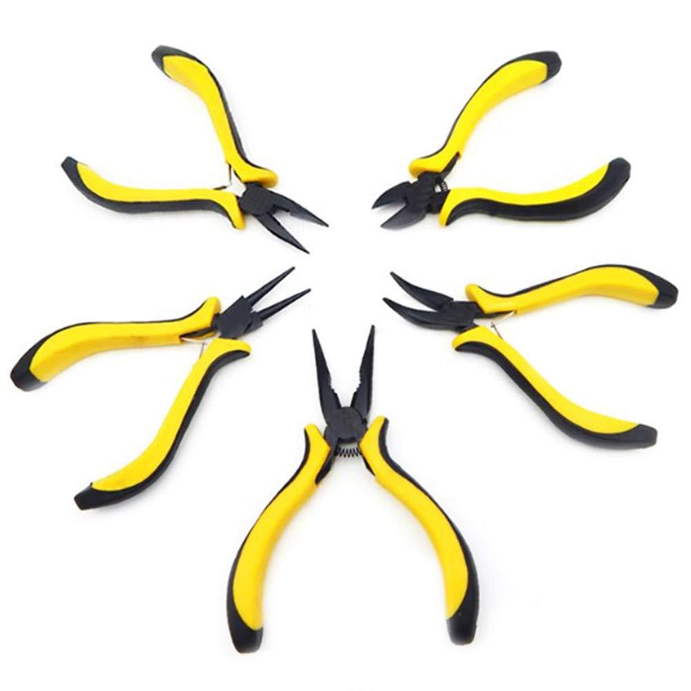 RANRANHOME Experte 5-Teilige Mini Zangen Set Langlebiger Werkzeugsatz Schneider Griff, Hand Zange Zahnnadel, Flache Nase, Runde Nase, Schneiden, Hand Zange 123456