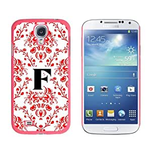 Letter F Initial Damask Elegant Red Black White - Snap On Hard Protective Case for Samsung Galaxy S4 - Pink