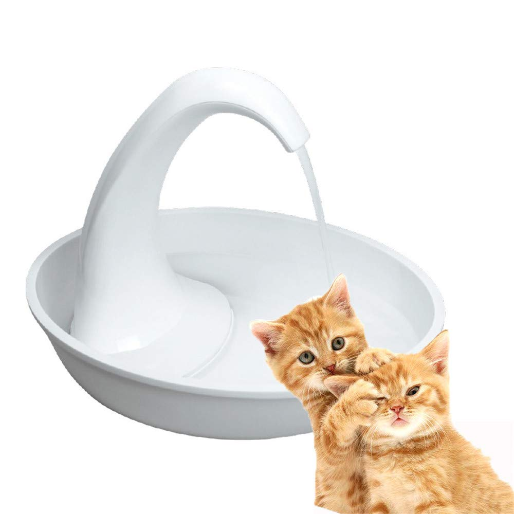 ZNN Pet Water Fountain - Cat and Dog Smart Ceramic Drinker, Large Capacity Automatic Circulation Filter, Swan Shape Design, Ultra Quiet Design, White by ZNN