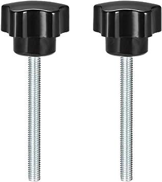 3 pieces Star Knobs Grips M8 x 60mm Male thread Zinc Steel Stud Black PP