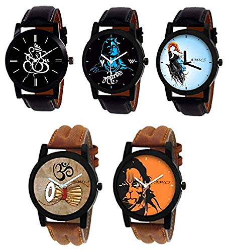 Amics Fancy mahakal-Shiv-mahadev Print on dial 5 Watch Combo for Men and Boys 1048
