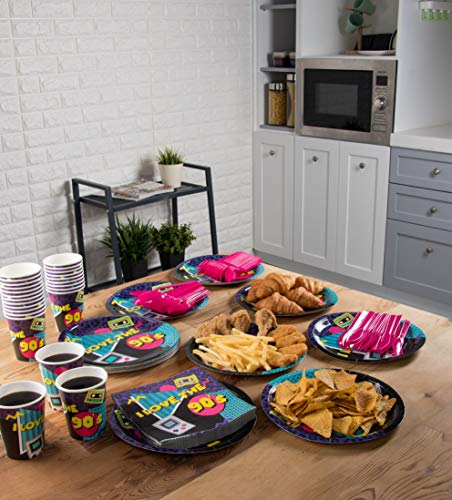 Disposable Dinnerware Set - Serves 24-90s Party Supplies for Kids Birthdays, 1990s Themed Parties, Includes Plastic Knives, Spoons, Forks, Paper Plates, Napkins, Cups by Blue Panda (Image #1)