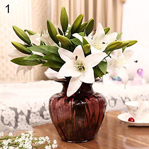 litymitzromq Artificial Flowers Fake Plants, 1 Head 3 Pcs Sweet Artificial Flower Fake Lily Floral Home Wedding Party Decor Faux Fake Flowers Floral Arrangement
