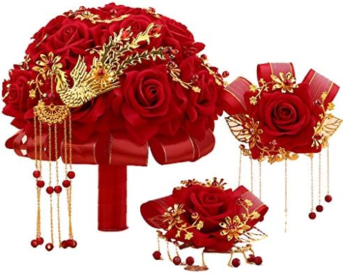 花嫁ホールディング花シミュレーションローズ付きブローチ写真の小道具フラワーボール用テーブルリビングルーム結婚式の装飾マルチカラー