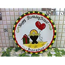 22cm creative hand painted Happy Birthday Jesus ceramic dessert plate