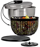 Chef Essential Stainless Steel Salad Spinner with Non-Slip Serving Bowl, Colander and Strorage Lid