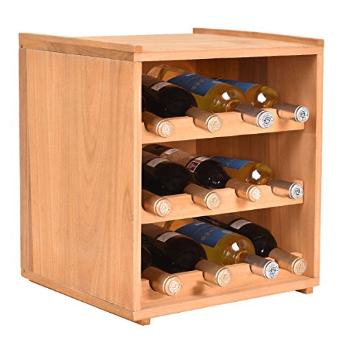 3 Tier 12 Bottle Natural Wine Wood Storage Cabinets Shelves Box Keeper