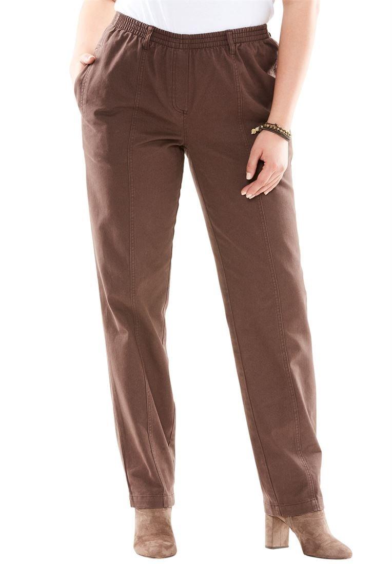 Roamans Plus Size Kate Elastic Waist Jeans (Chocolate,14 W)
