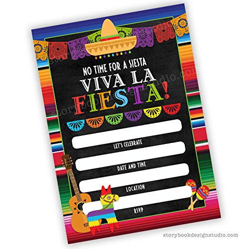 Fiesta Party Invitations (Set of 25) Envelopes Included, Fill in Style Birthday, Baby Shower, Bridal Shower, etc.